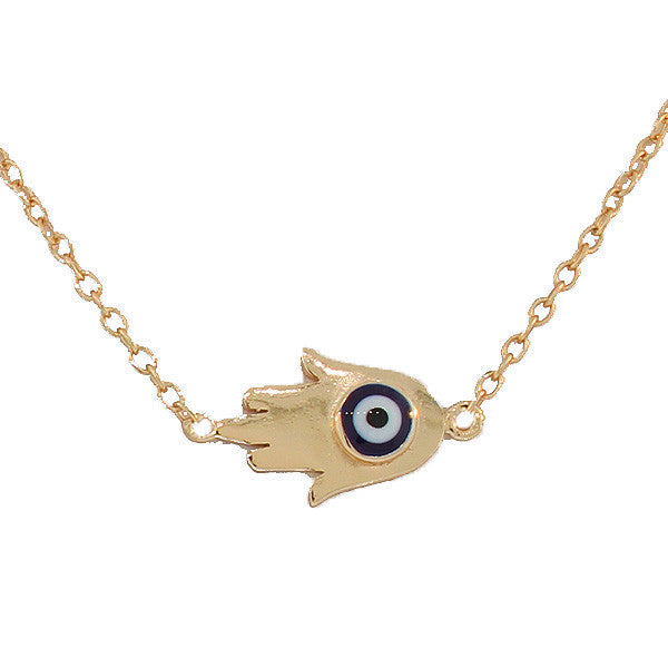 925 Sterling Silver Yellow Gold-Tone Hamsa Evil Eye Pendant Necklace