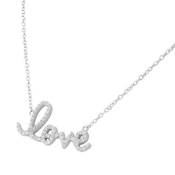 Love Script Cubic Zirconia Sterling Silver Pendant Necklace