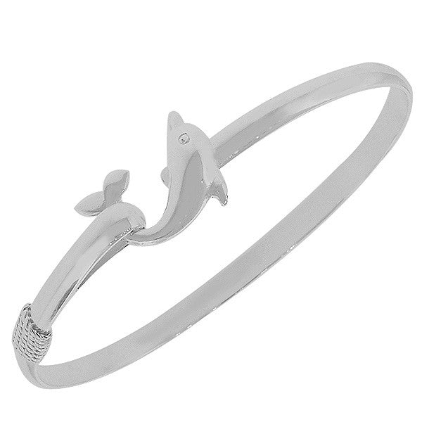 925 Sterling Silver Dolphin Charm Classic Bangle Bracelet