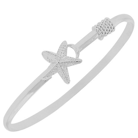 925 Sterling Silver Star Fish Starfish Charm Classic Bangle Bracelet
