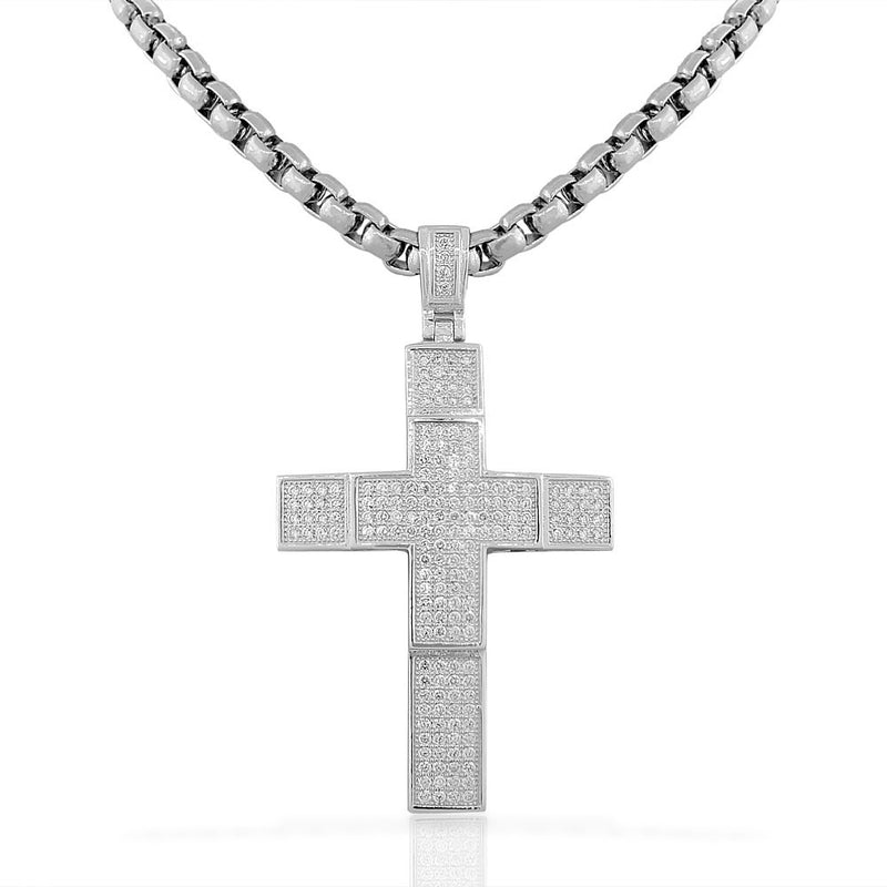 925 Sterling Silver Large Hip-Hop Micro Pave-Set CZ Latin Cross Religious Mens Pendant Necklace