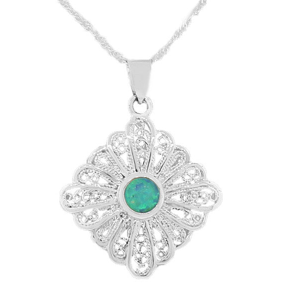 925 Sterling Silver Blue Turquoise-Tone Simulated Opal Antique Vintage Pendant Necklace