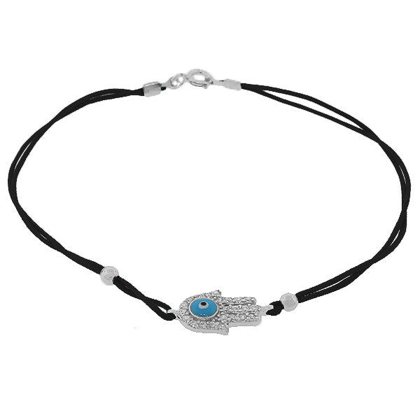 925 Sterling Silver Black White CZ Hamsa Evil Eye Bracelet