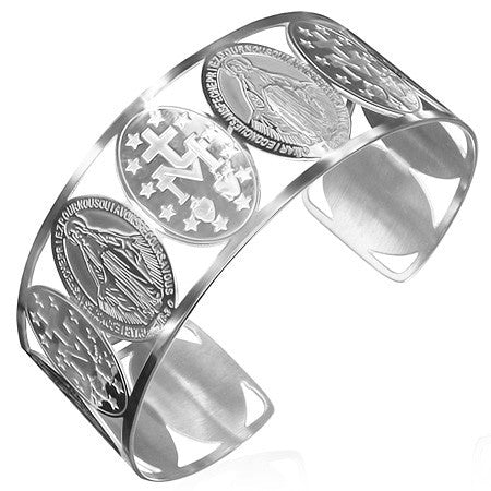 Stainless Steel Silver-Tone Cross Virgin Mary Religious Christian Open End Cuff Bangle