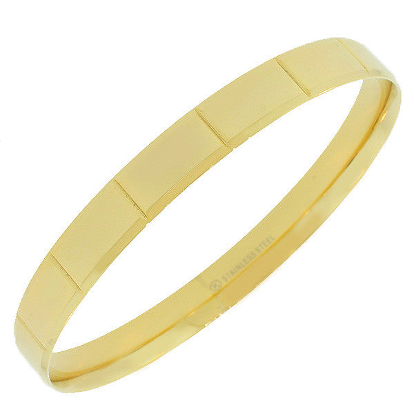 Stainless Steel Yellow Gold-Tone Faceted Bangle Bracelet