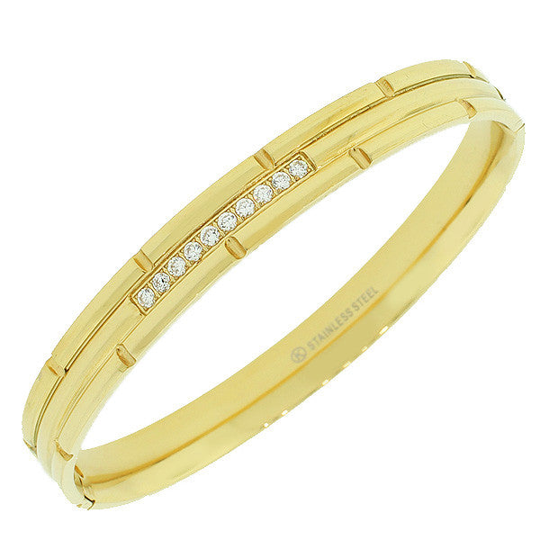 Stainless Steel Yellow Gold-Tone Faceted White CZ Bangle Bracelet