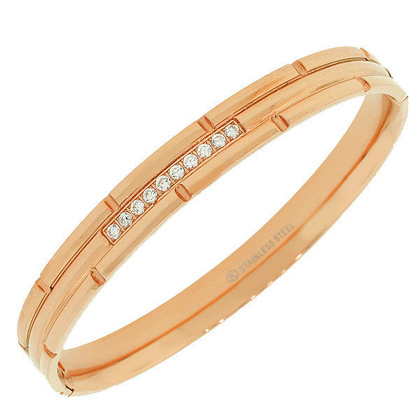 Stainless Steel Rose Gold-Tone Faceted White CZ Bangle Bracelet