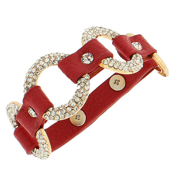 Fashion Alloy Red Faux PU Leather Yellow Gold-Tone Hoops White CZ Wristband Bracelet