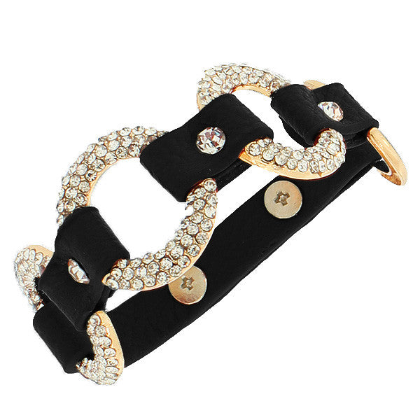 Fashion Alloy Black Faux PU Leather Yellow Gold-Tone Hoops White CZ Wristband Bracelet