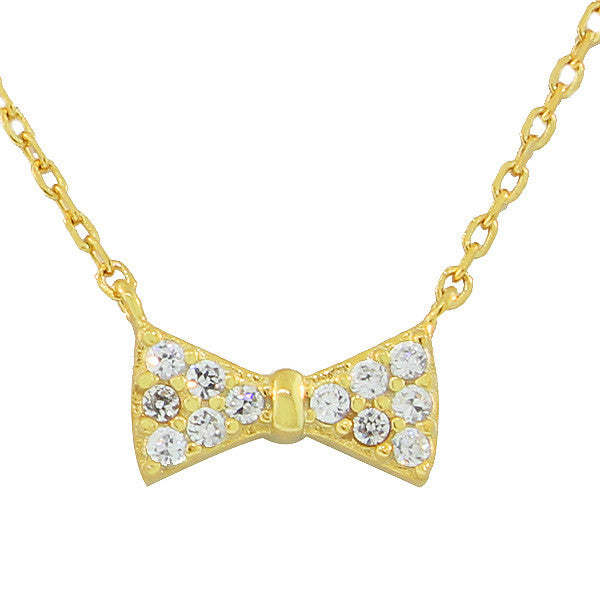925 Sterling Silver Yellow Gold-Tone Bow Tie Charm CZ Pendant Necklace