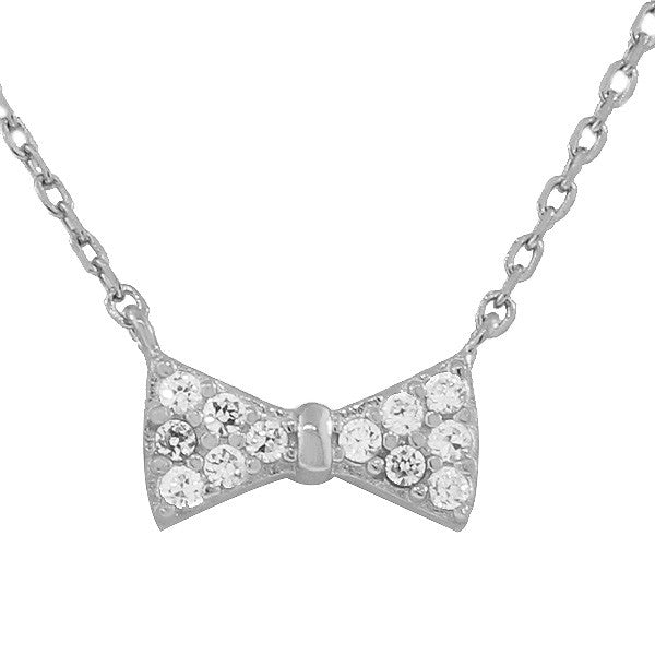 925 Sterling Silver Bow Tie Charm CZ Pendant Necklace With Chain