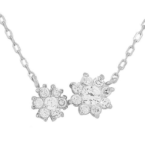 925 Sterling Silver Flower Floral Charm CZ Pendant Necklace