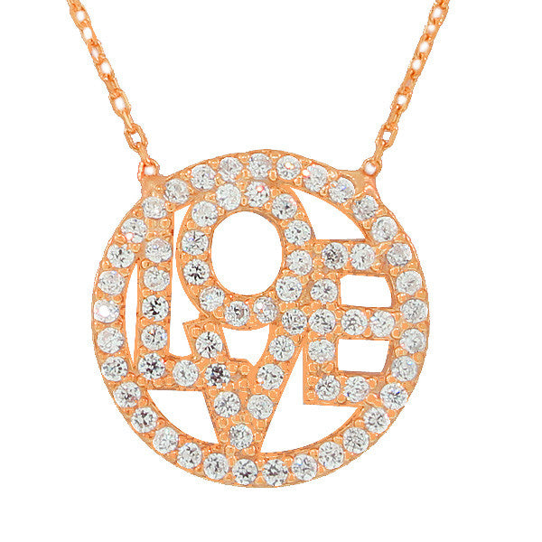 925 Sterling Silver Rose Gold-Tone Love Circle Charm White CZ Pendant Necklace