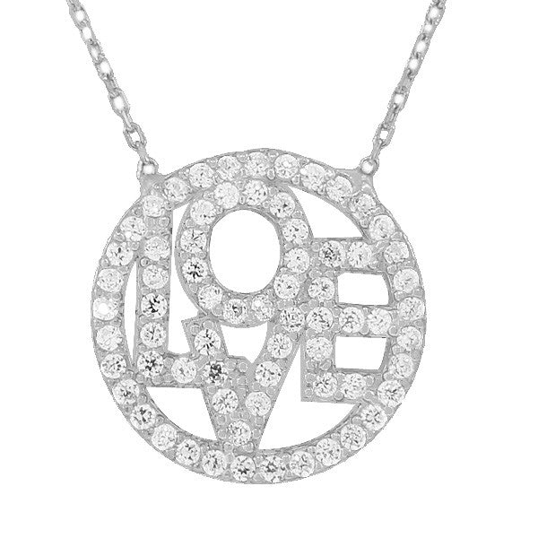 925 Sterling Silver Love Heart Circle Charm White CZ Pendant Necklace