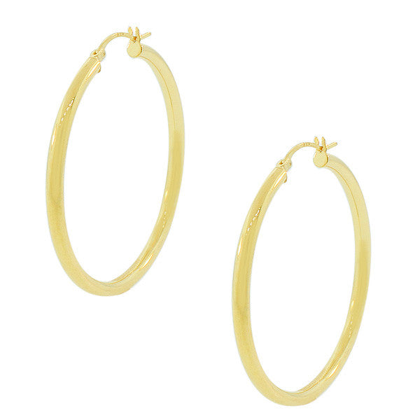 925 Sterling Silver Yellow Gold-Tone Classic Hoop Earrings