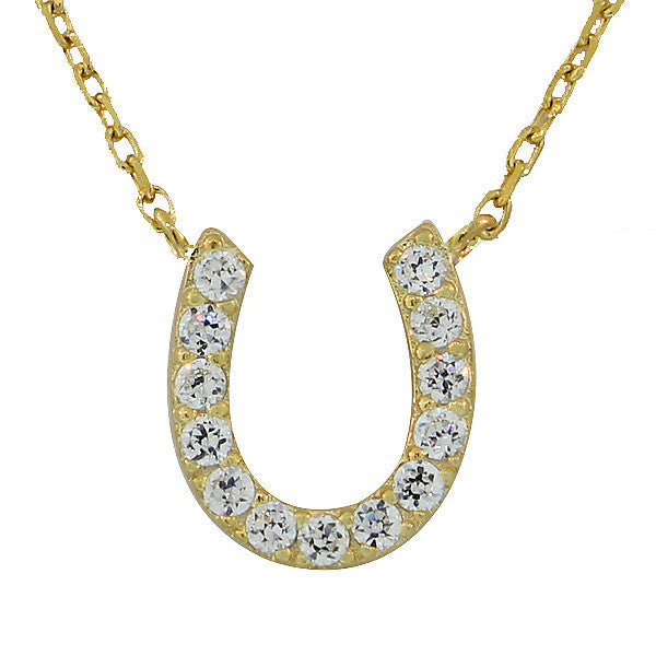 925 Sterling Silver Yellow Gold-Tone White CZ Horseshoe Pendant Necklace