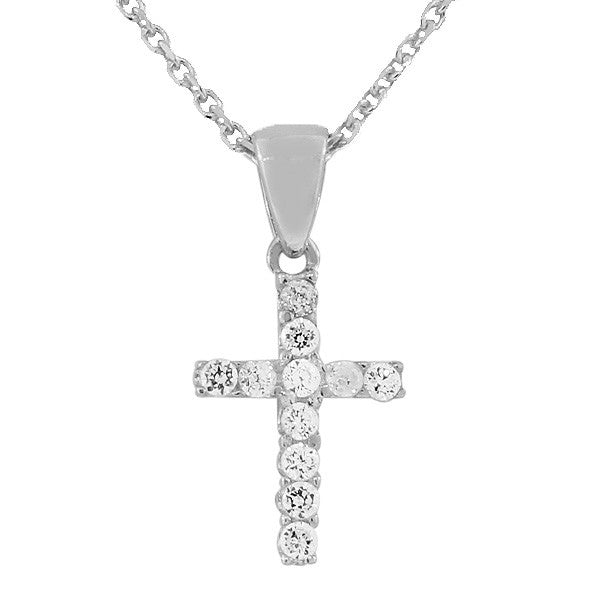 925 Sterling Silver Religious Cross White CZ Pendant Necklace Chain