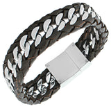 Stainless Steel Silver-Tone Brown Leather Men's Wristband Chain Bracelet