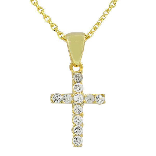 925 Sterling Silver Yellow Gold-Tone Religious Cross White CZ Pendant Necklace