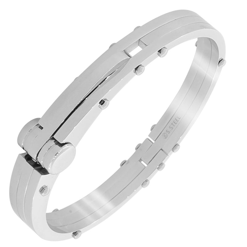 Stainless Steel Silver-Tone Classic Handcuff Men's Bracelet