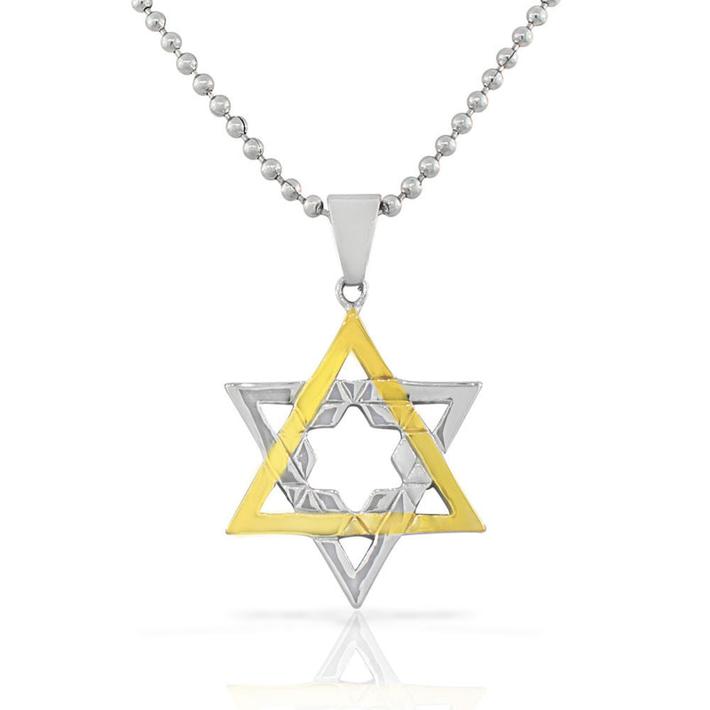 Stainless Steel Two-Tone Religious Jewish Star of David Pendant Necklace