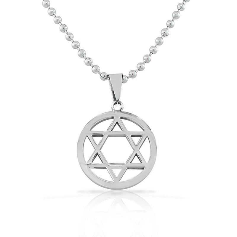 Stainless Steel Silver-Tone Classic Jewish Star of David Men's Boys Pendant Necklace