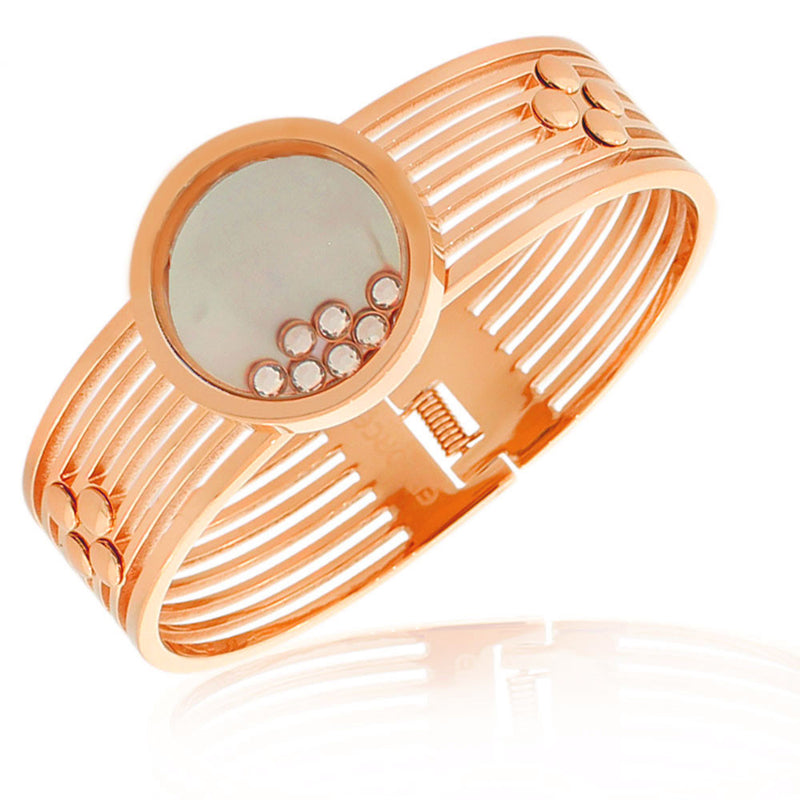EDFORCE Stainless Steel Rose Gold-Tone Simulated Mother-of-Pearl Floating CZ Bangle Bracelet