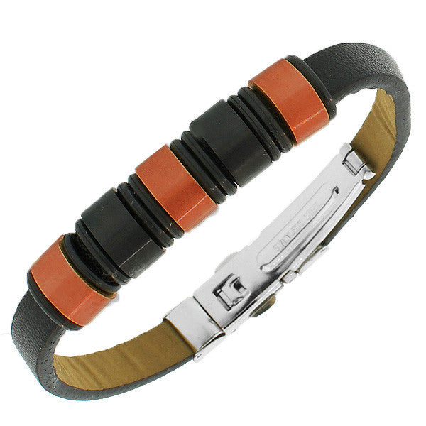 Stainless Steel Black Leather Bronze-Tone Silver-Tone Men's Bracelet