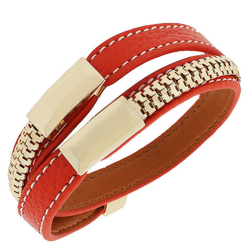 Fashion Alloy Red Faux PU Leather Rose Gold-Tone Chain Double Row Wristband Bracelet