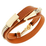 Fashion Alloy Brown Faux PU Leather Rose Gold-Tone Chain Double Row Wristband Bracelet
