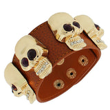 Fashion Alloy Brown Faux PU Leather Rose Gold-Tone Skull CZ Wristband Bracelet