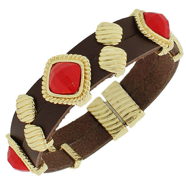 Fashion Alloy Brown Faux PU Leather Yellow Gold-Tone Red Wristband Bracelet