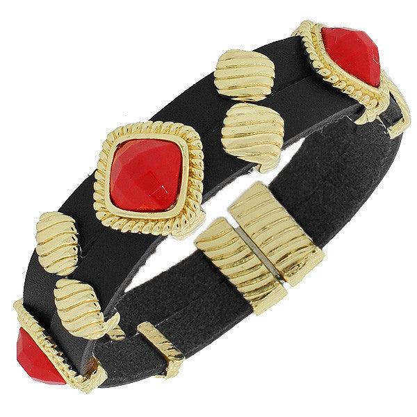 Fashion Alloy Black Faux PU Leather Yellow Gold-Tone Red Wristband Bracelet