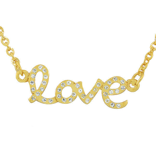 Stainless Steel Yellow Gold-Tone Love Heart Charm White CZ Pendant Necklace