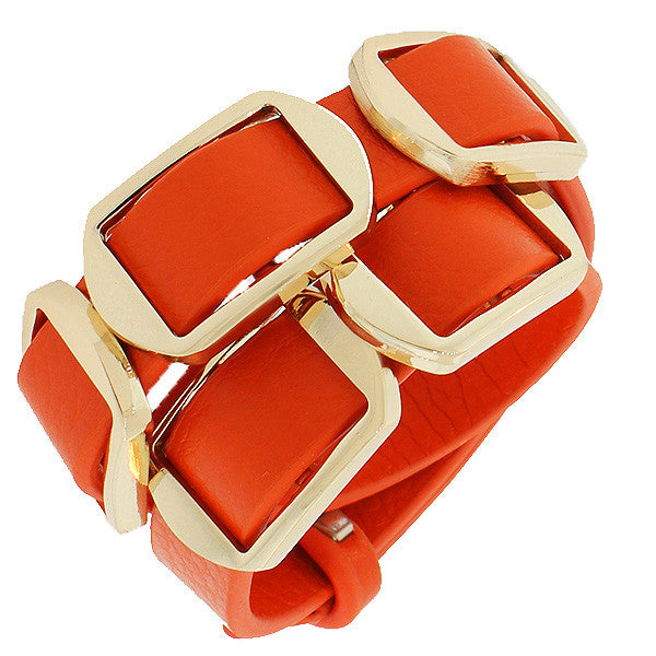 Fashion Alloy Orange Faux PU Leather Rose Gold-Tone Double Row Wristband Bracelet