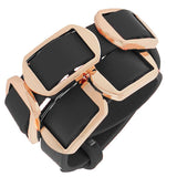 Fashion Alloy Black Faux PU Leather Rose Gold-Tone Double Row Wristband Bracelet