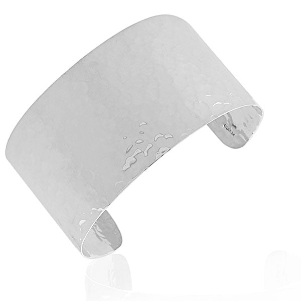 925 Sterling Silver Classic Wide Hammered Finish Open End Womens Cuff Bangle Bracelet