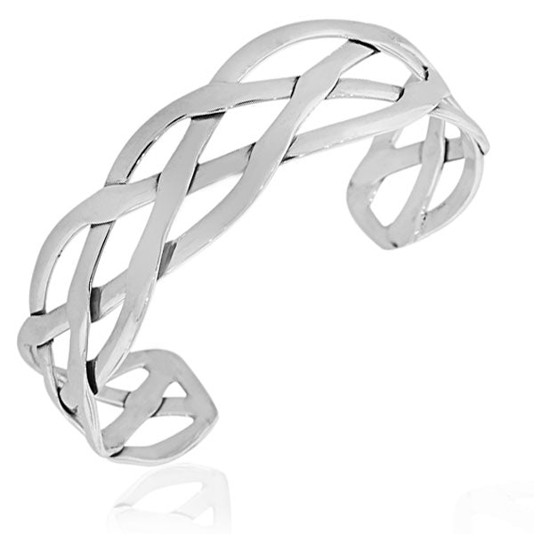 925 Sterling Silver Classic Open End Womens Cuff Bangle Bracelet