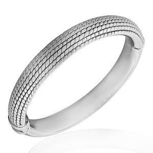 925 Sterling Silver Light Round Open End Bangle Bracelet with Hinged Clasp