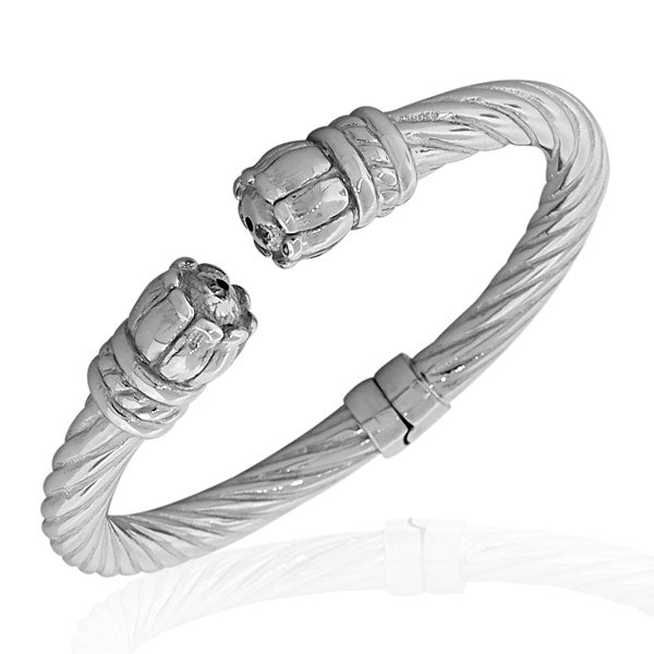 925 Sterling Silver Feather Light Flower Floral Open End Bangle Bracelet with Hinged Clasp