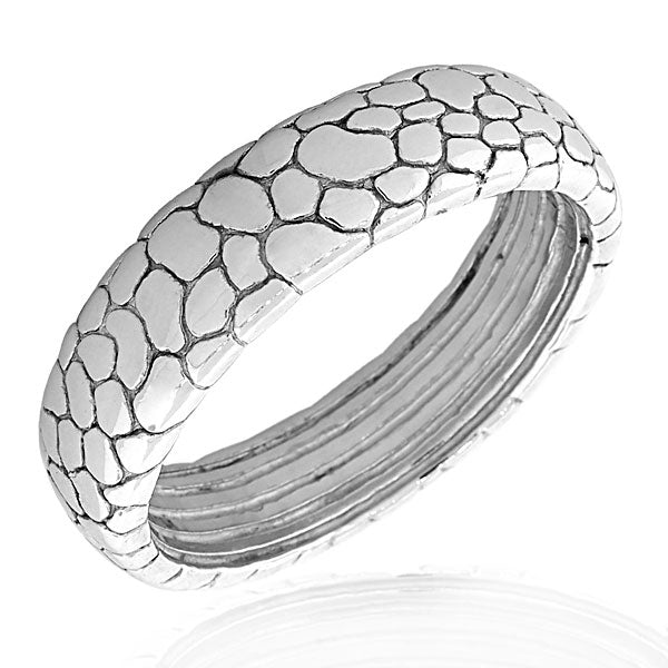925 Sterling Silver Feather Light Filigree Snake Skin Pebble Womens Round Bangle Bracelet