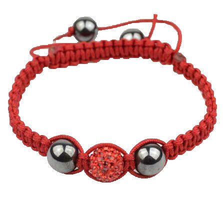 Red CZ Cord Black Simulated Onyx Macrame Beaded Bracelet