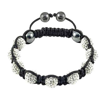 White CZ Black Cord Simulated Onyx Macrame Beaded Bracelet