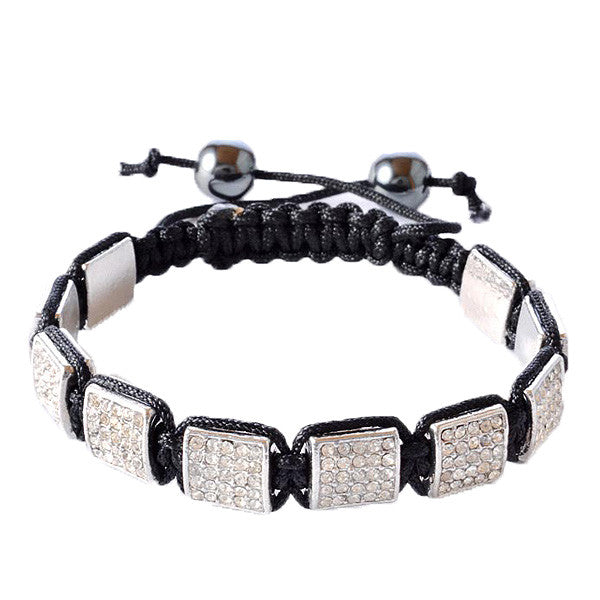 White CZ Black Macrame Beaded Square Beads Bracelet