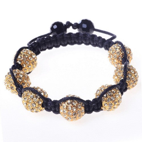 White CZ Yellow Gold-Tone Macrame Beaded Bracelet