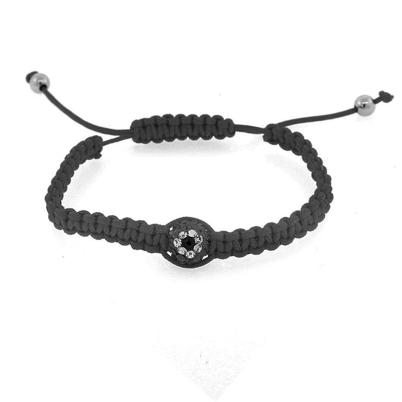 EDFORCE Black White CZ Cord Macrame Beaded Adjustable Evil Eye Bracelet