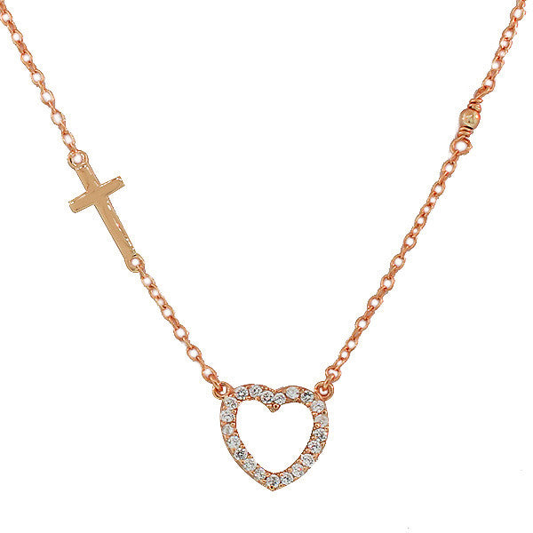 925 Sterling Silver Rose Gold-Tone Love Heart Cross Charm White CZ Pendant Necklace