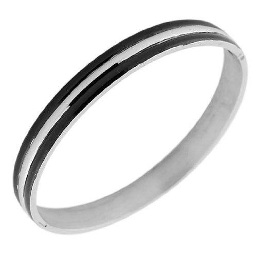 Stainless Steel Two-Tone Black and Silver-Tone Womens Handcuff Bracelet
