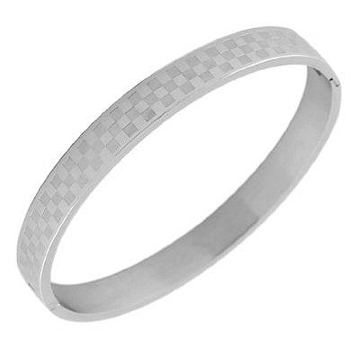 Stainless Steel Checkers Board Silver-Tone Womens  Bracelet