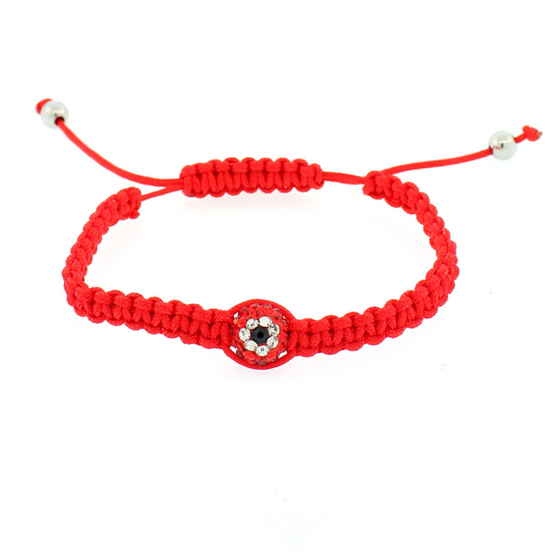 EDFORCE Red Black White CZ Cord Macrame Beaded Adjustable Evil Eye Bracelet